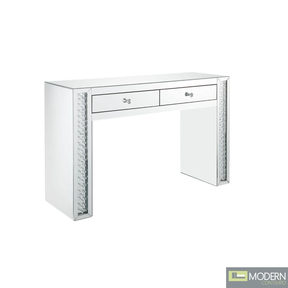 Celia Vanity Desk Mirrored & Faux Crystals