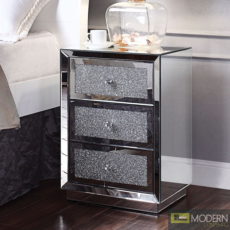 Lucci 3 drawer Mirrored Crystal End table/Nightstand