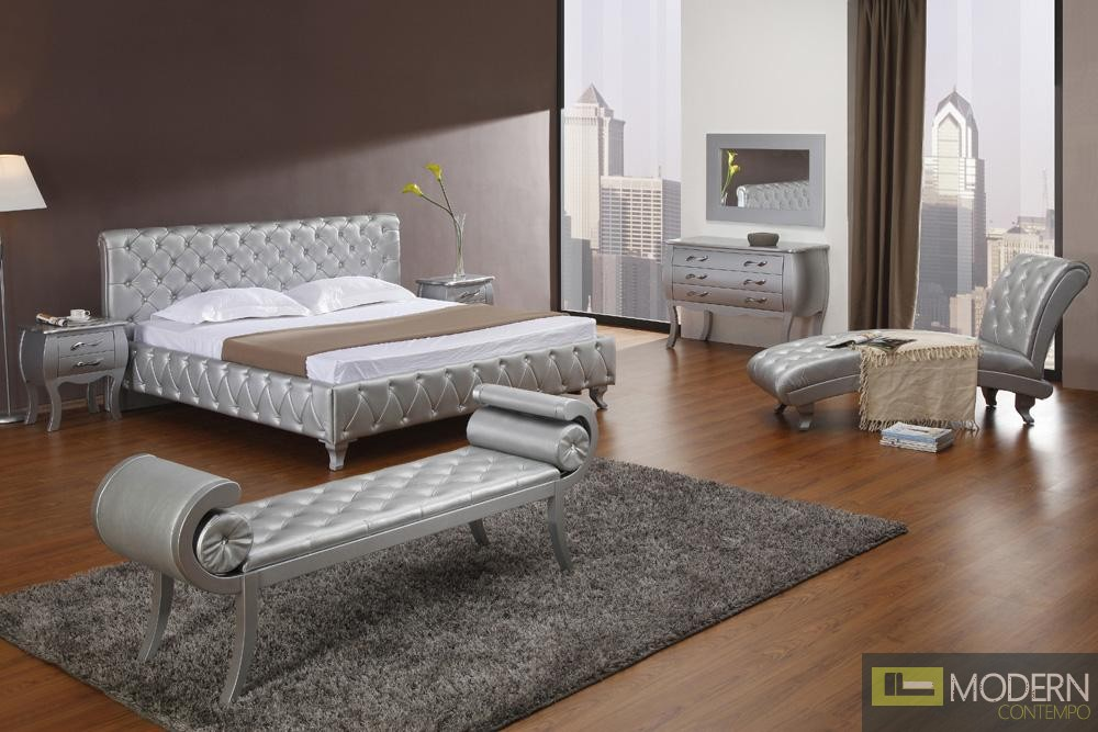 Modrest Monte Carlo Platinum Edition Silver Modern Bed with Crystals