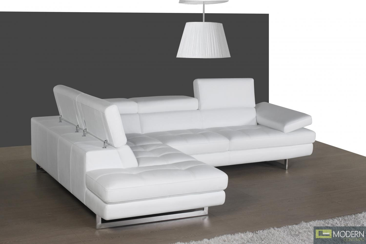 A761 Italian Leather Sectional White In Left hand Facing