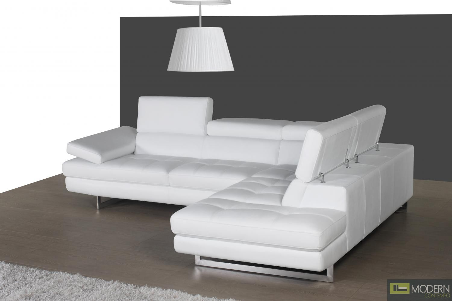 A761 Italian Leather Sectional White In Right Hand Facing
