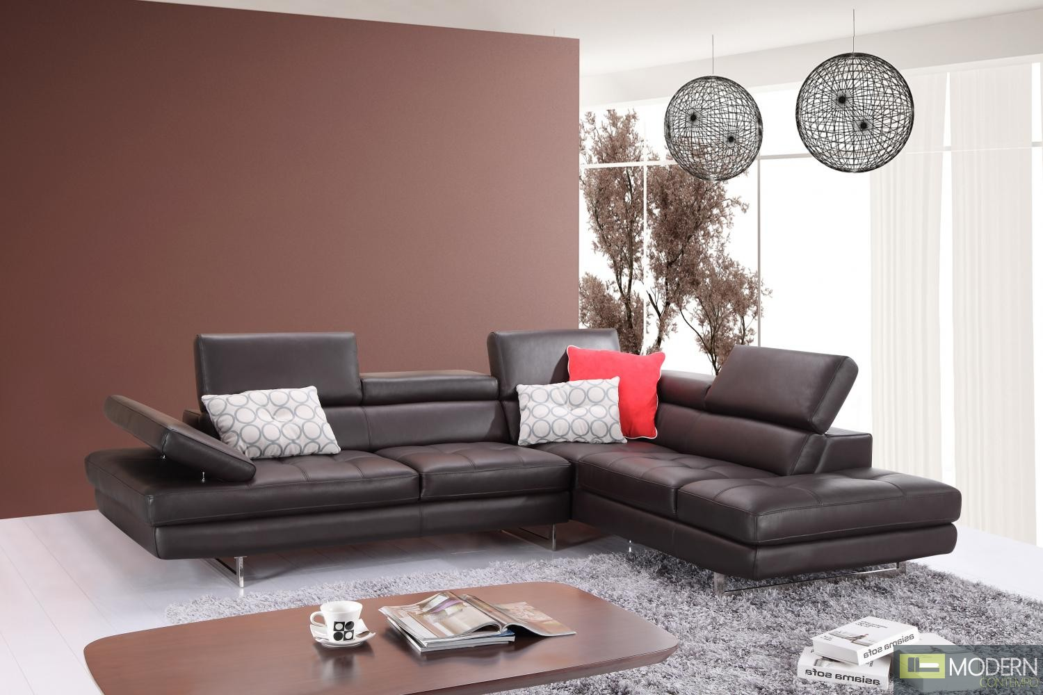 A761 Italian Leather Sectional Slate Coffee In Right Hand Facing