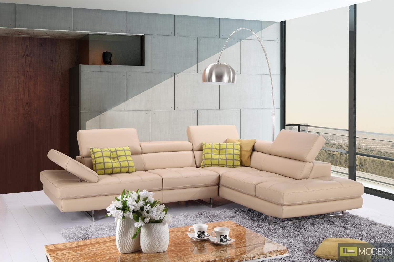A761 Italian Leather Sectional Slate Peanut In Right Hand Facing