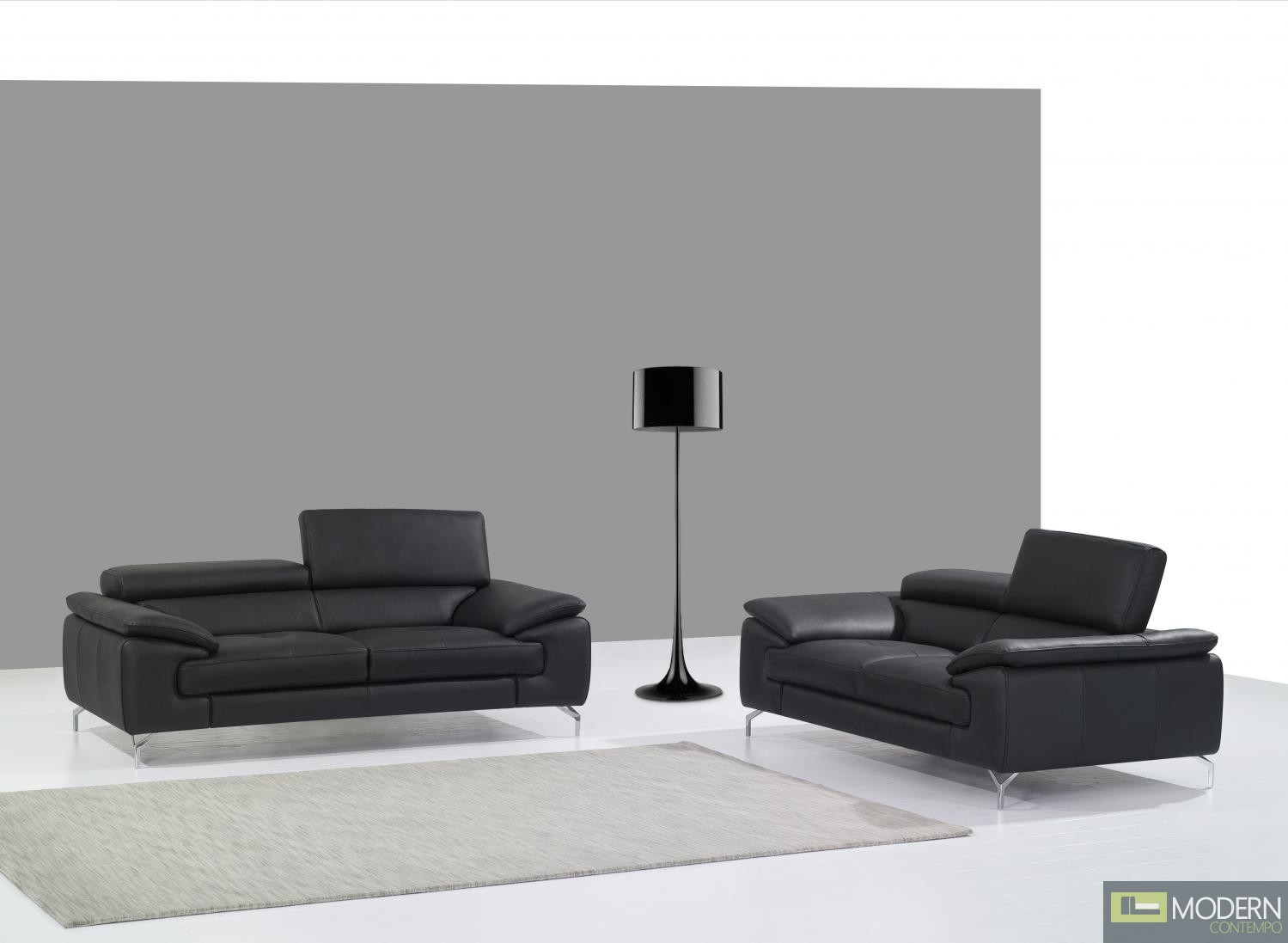 A973 Italian Leather Sofa in Black