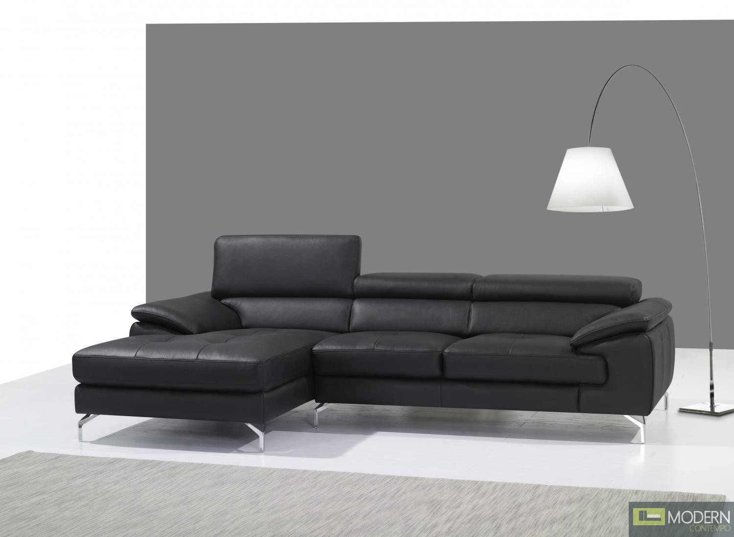 A973B Italian Leather Mini Sectional Left Facing Chaise in Black