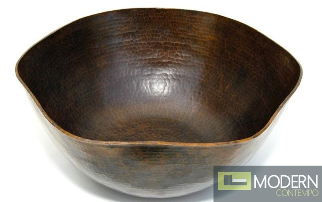 Pentagon Shaped Copper Bath Vessel in Antigua Finish