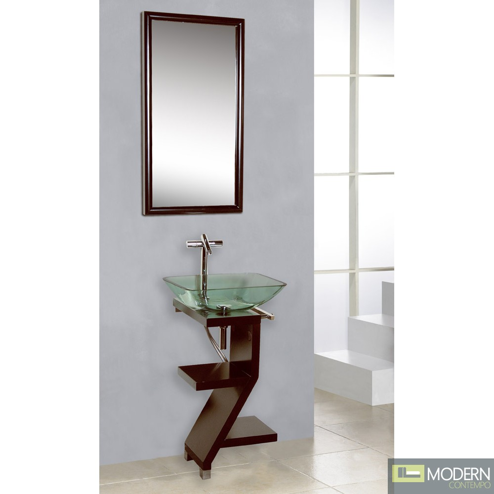 Modern Contempo - Mahogany Wood Base Petite Powder Room Vanity with ...