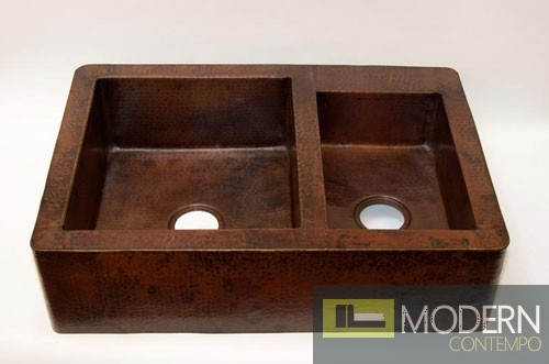 60/40 Split Farmhouse Copper Kitchen Sink