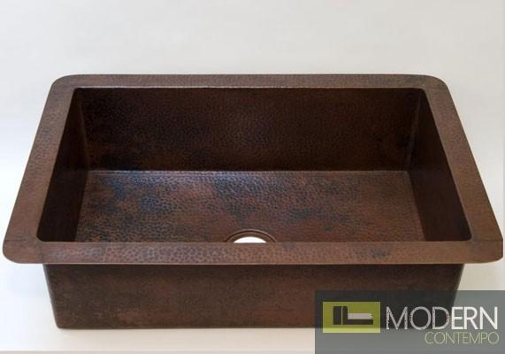 Open Undermount Copper Kitchen Sink