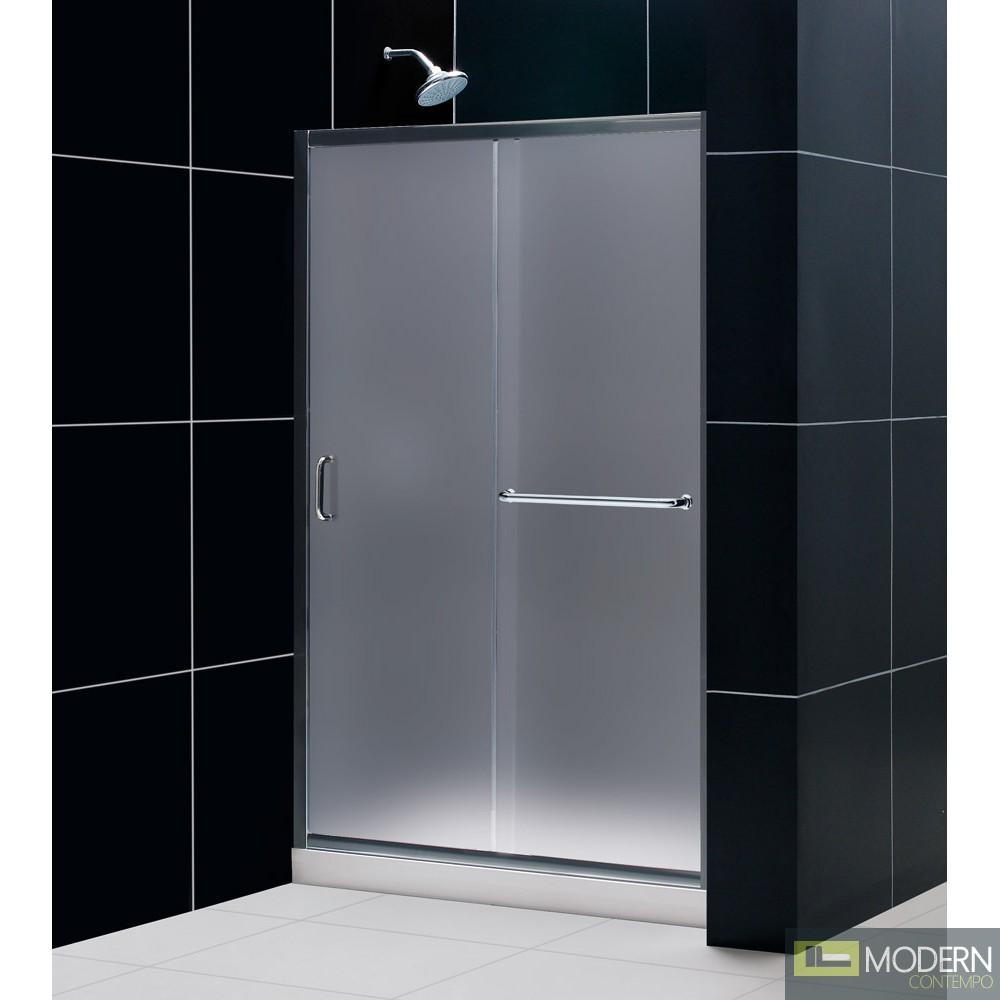"Infinity-Z 44 to 48"" Frameless Sliding Shower Door, Frosted 1/4"" Glass Door, Brushed Nickel Finish"