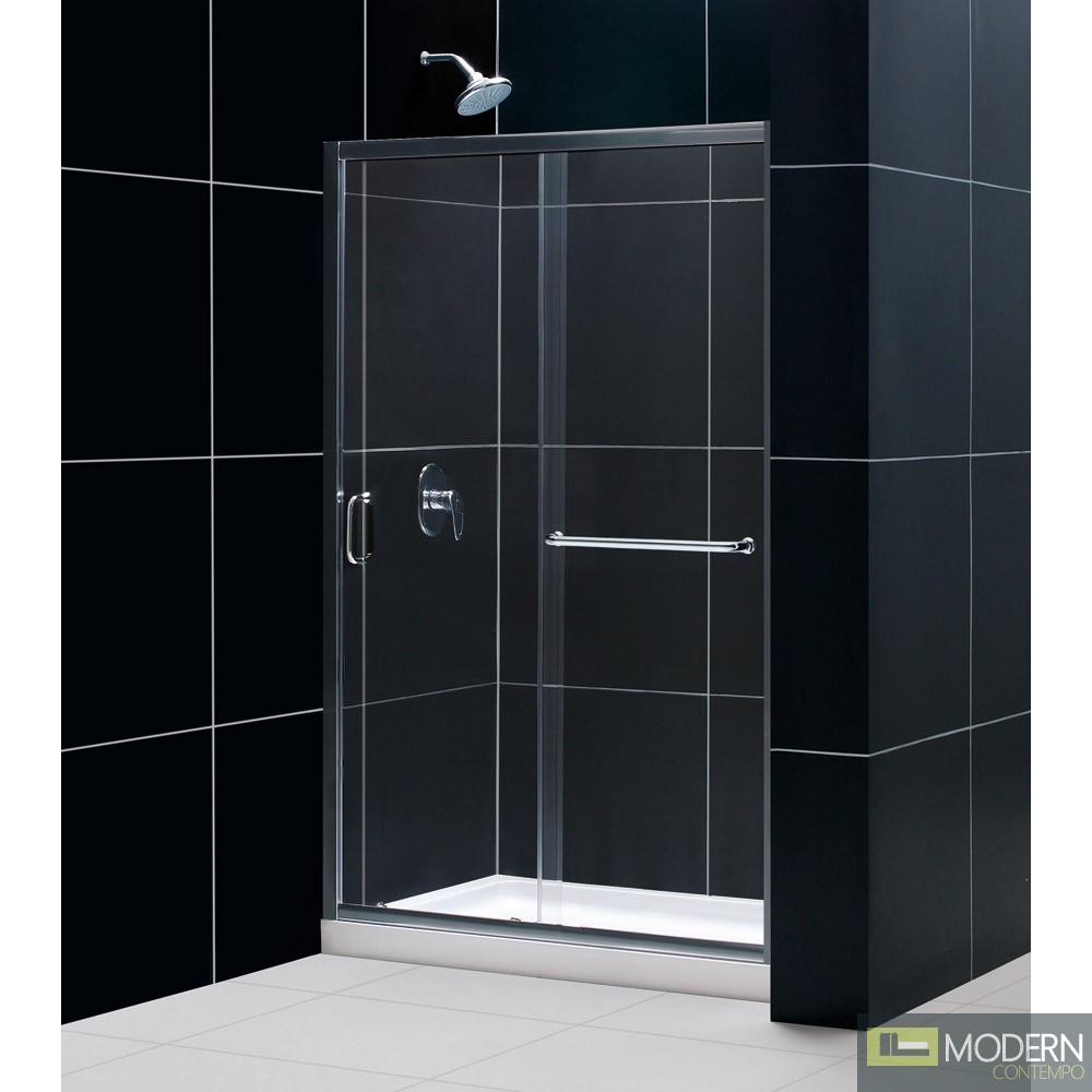 "Infinity-Z 44 to 48"" Frameless Sliding Shower Door, Clear 1/4"" Glass Door, Brushed Nickel Finish"