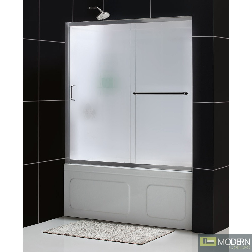 "Infinity-Z 56 to 60"" Frameless Sliding Tub Door, Frosted 1/4"" Glass Door, Chrome Finish"