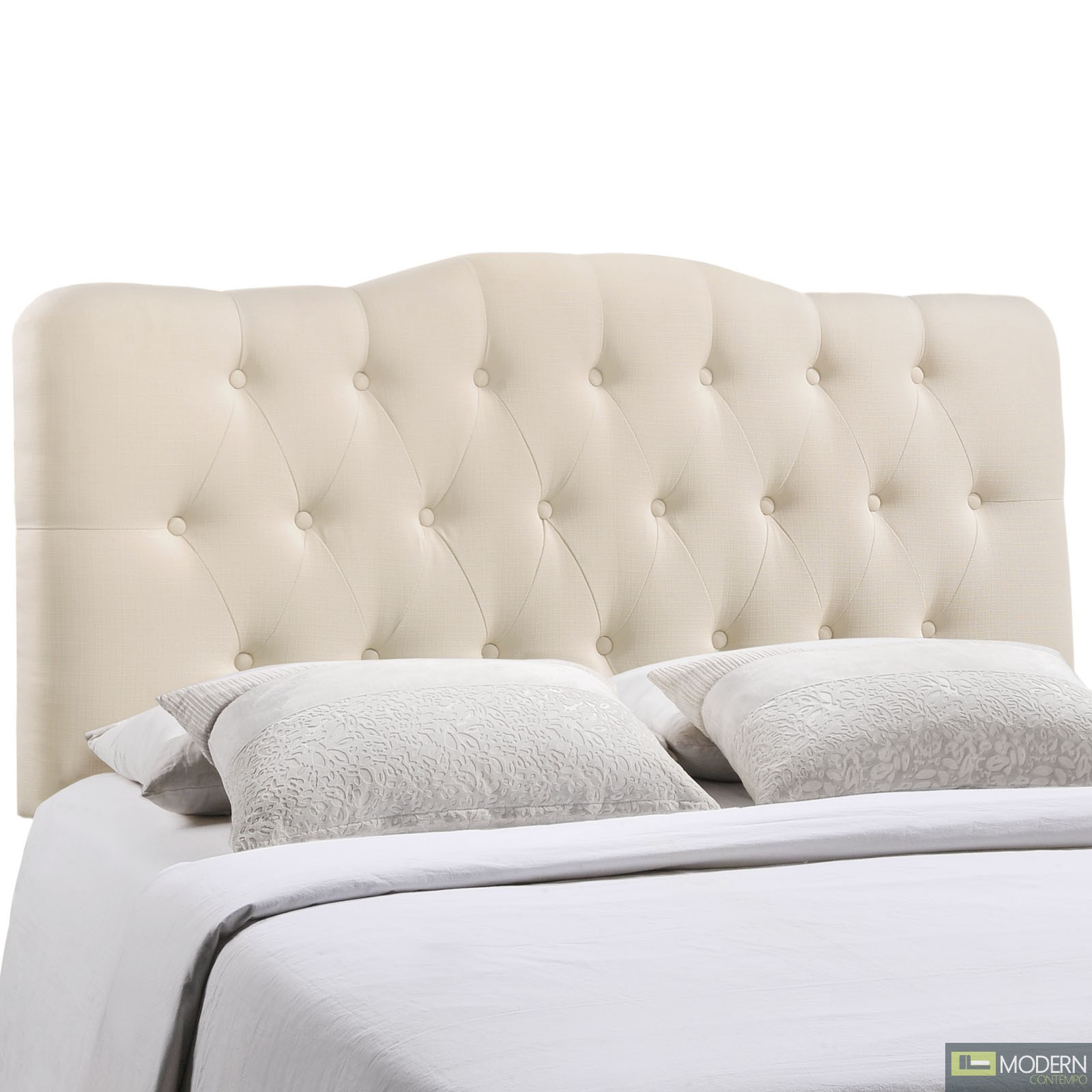 Annabel Queen Fabric Headboard Ivory