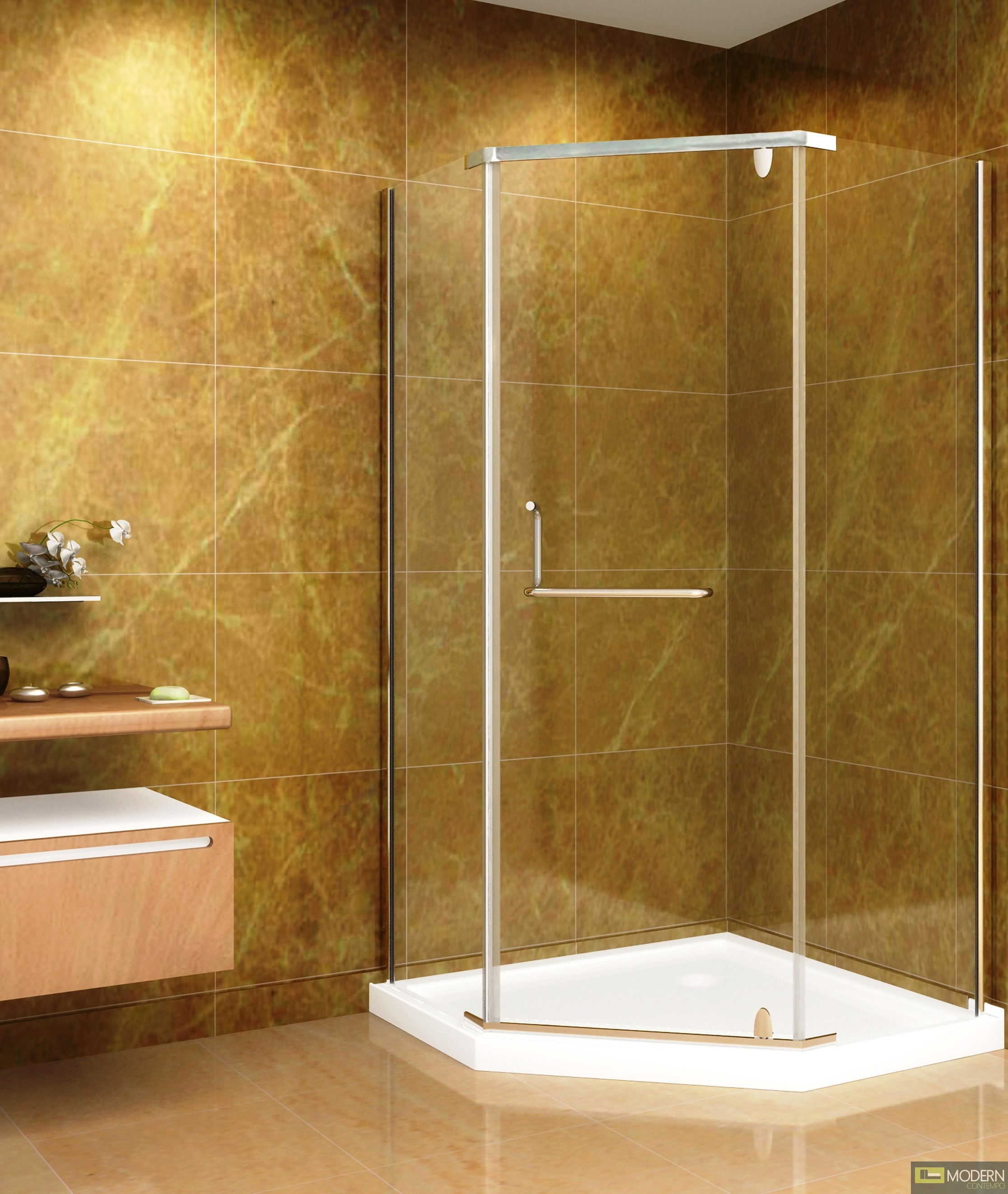 "36"" x 36"" Neo-Angle Shower Enclosure with Acrylic Shower Base in Chrome Finish"
