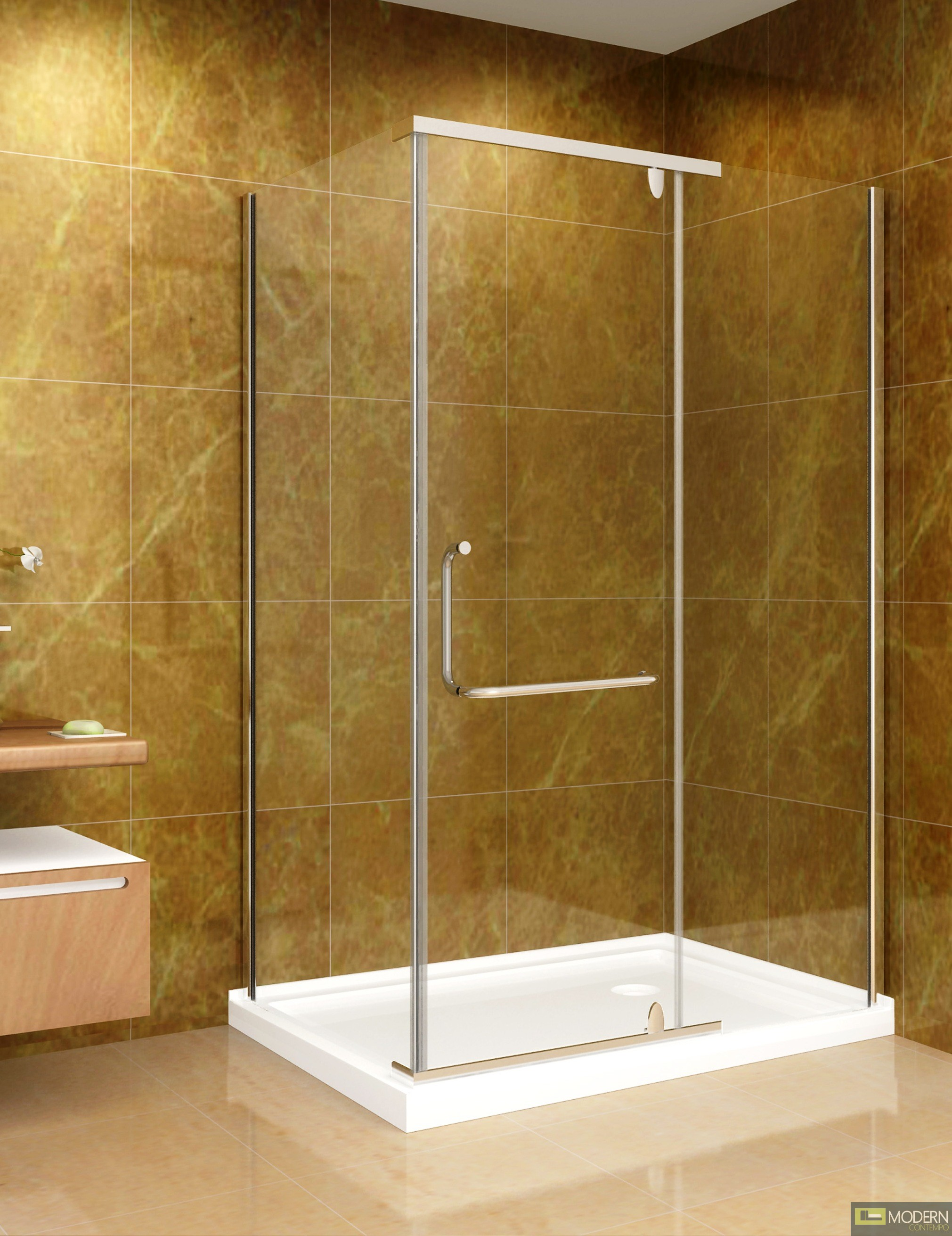 "48"" x 35"" Shower Enclosure with Acrylic Shower Base in Chrome Finish, 8mm Glass - Right Hand Drain"