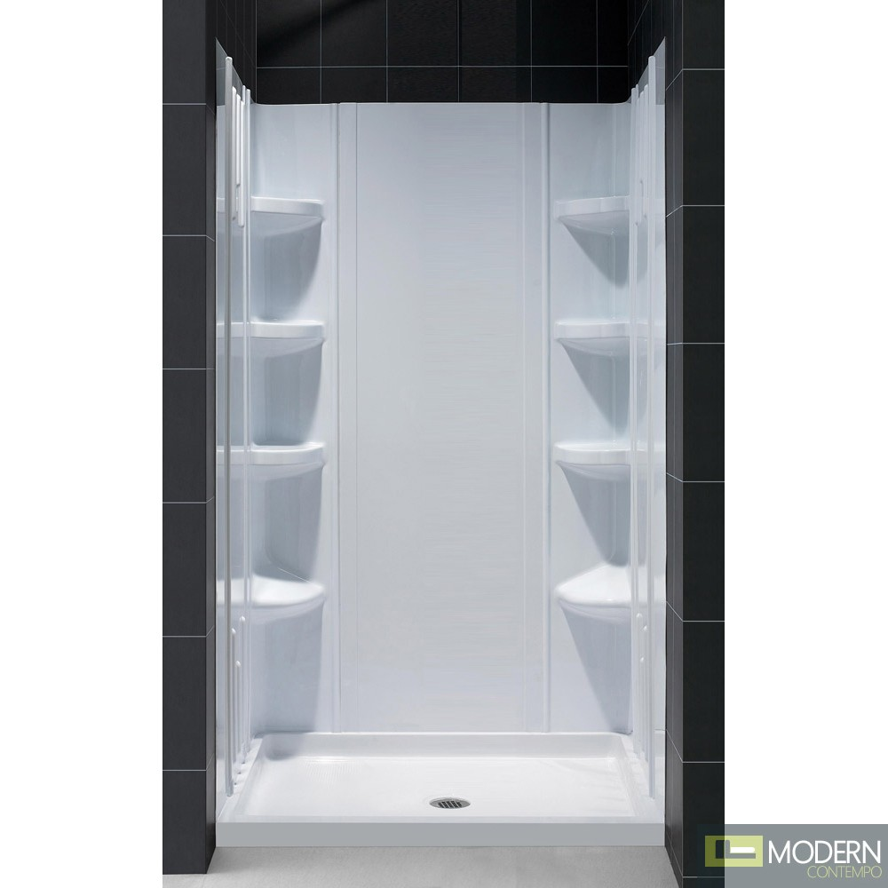 """SlimLine 36"""" by 36"""" Single Threshold Shower Base and QWALL-3 Shower Backwall Kit"""