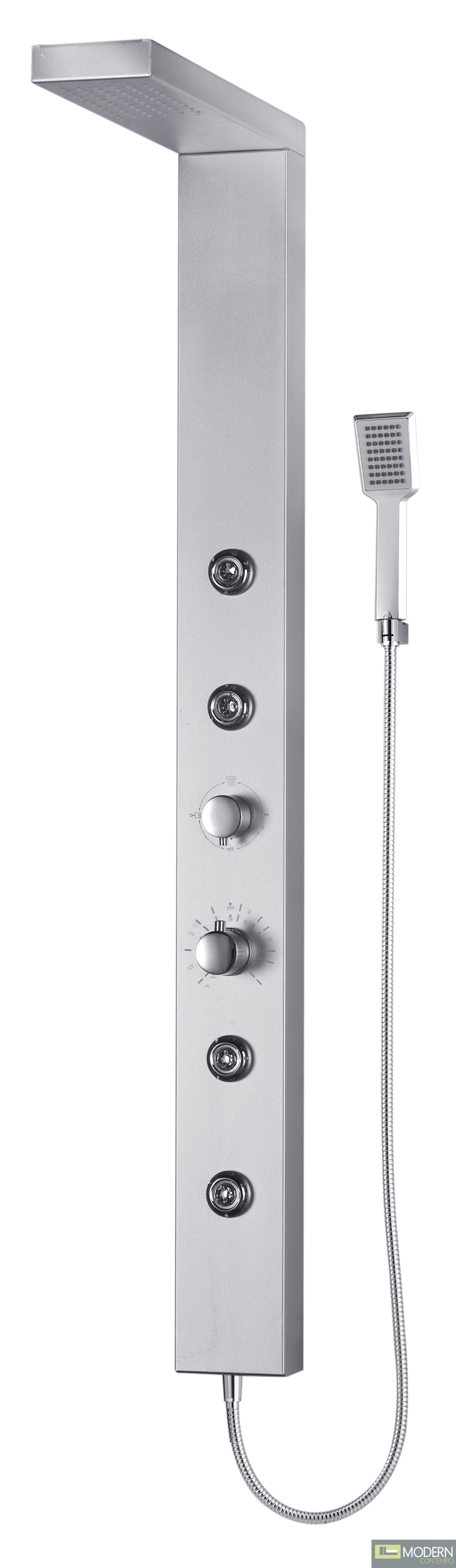 Shower Panel System with Four Body Jets in Aluminum