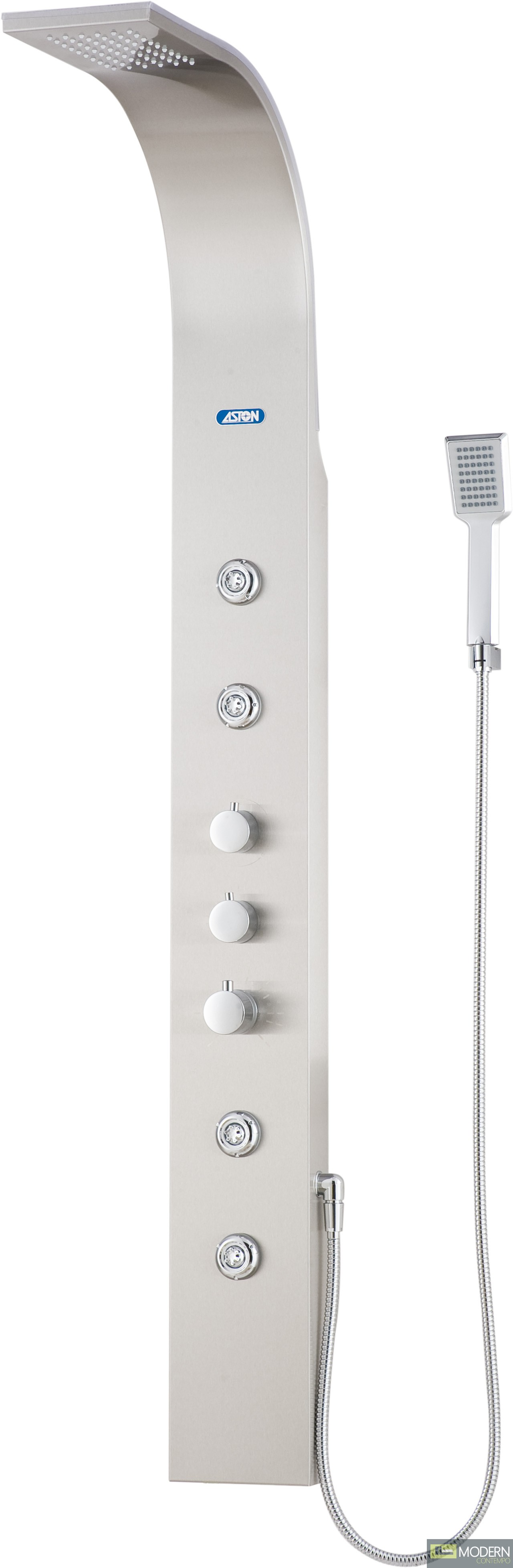 Shower Panel System with Four Body Jets in Stainless Steel