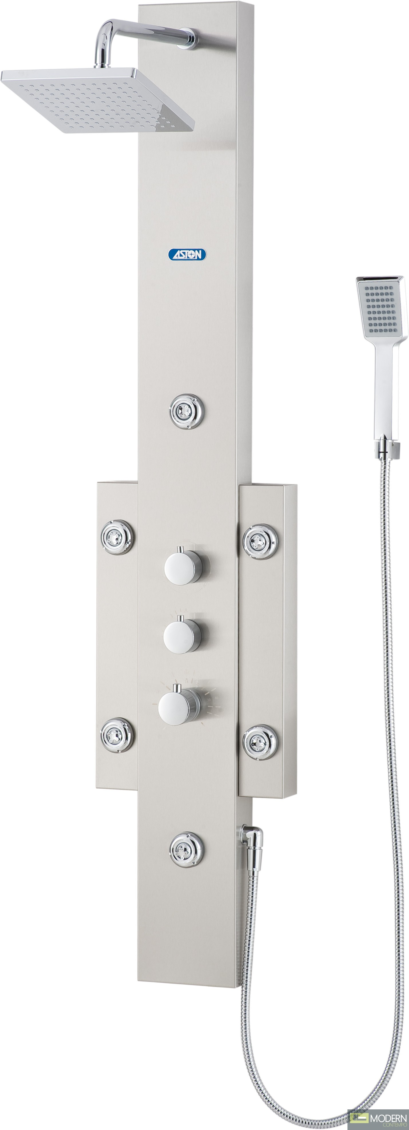 Shower Panel System with Six Body Jets in Stainless Steel