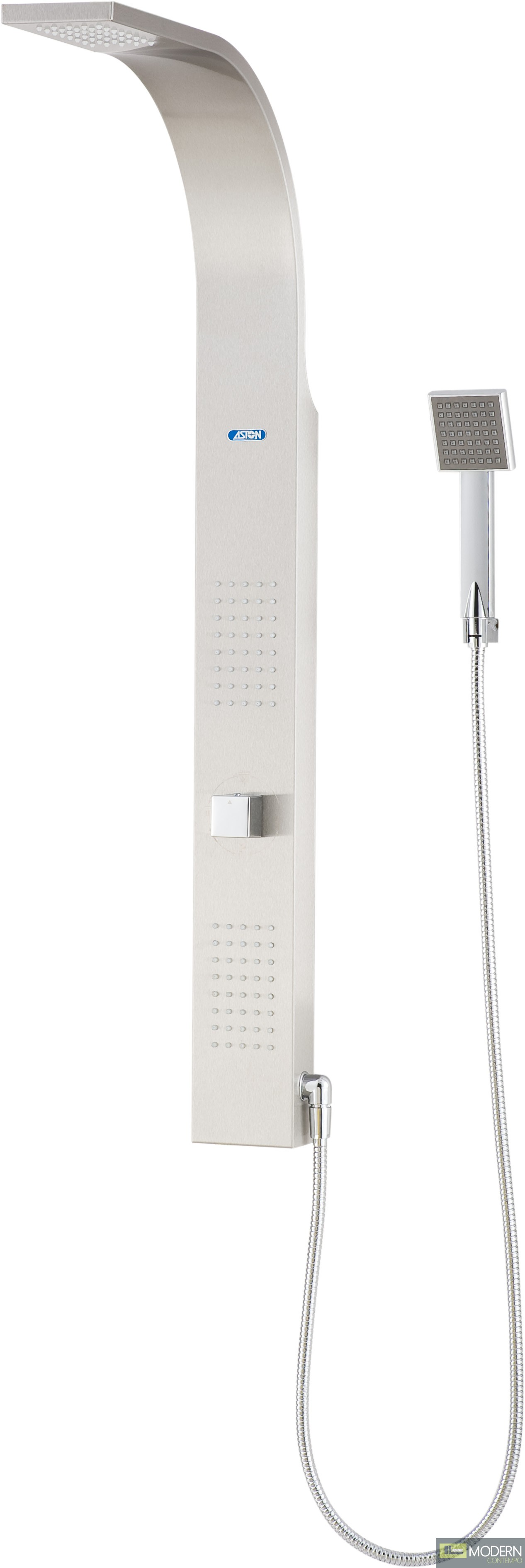Retrofit Shower Panel System with Two Jet Panels in Stainless Steel