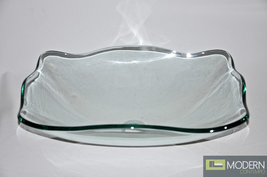 Clear Fluted Rectangular Vessel Sink