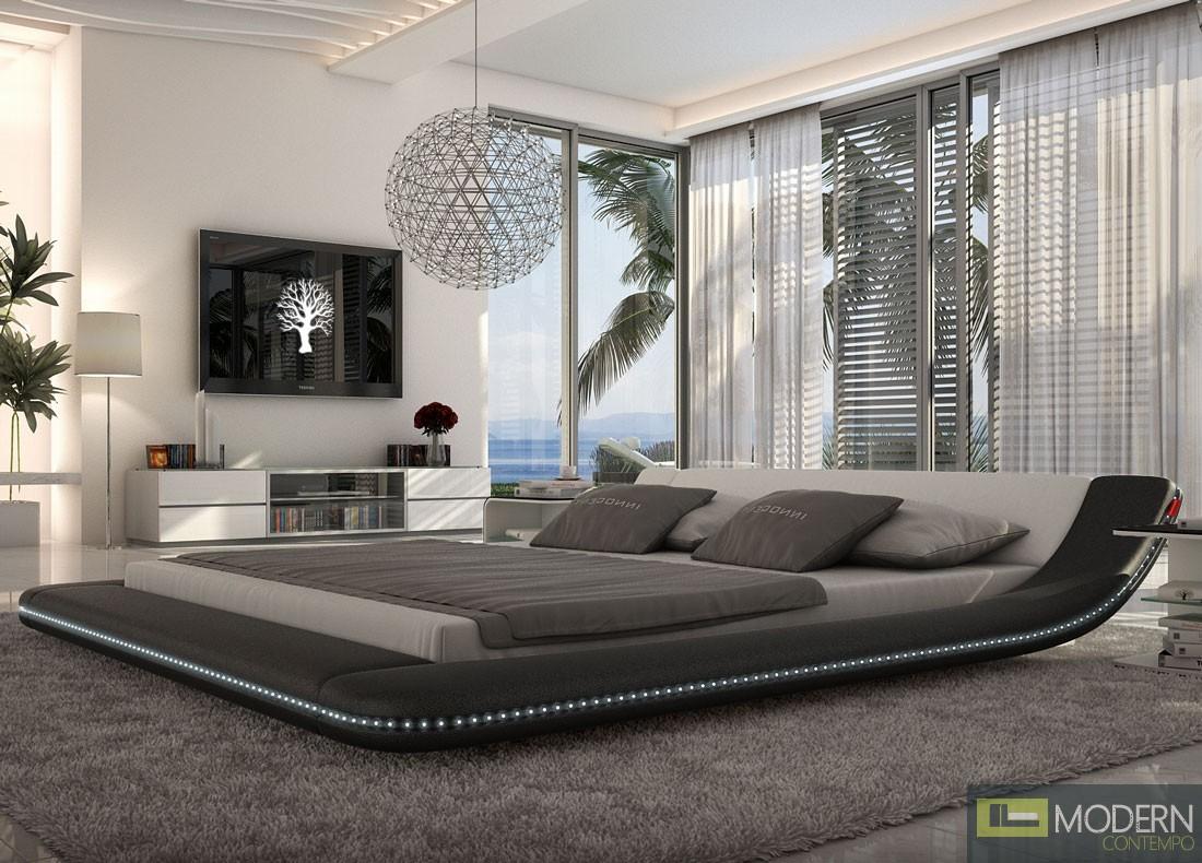 Modern Black King Platform Bed with LED Lighting
