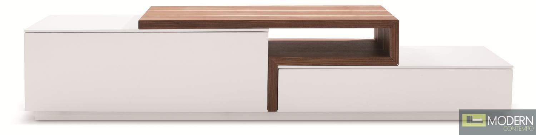 TV Stand 045 in White High Gloss & Walnut