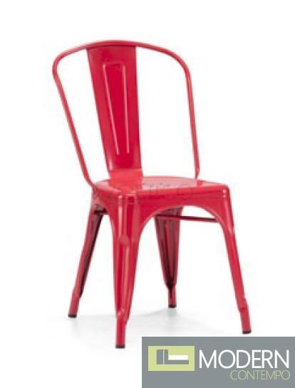 Modrest T-5816 - Modern Red Metal Side Chair