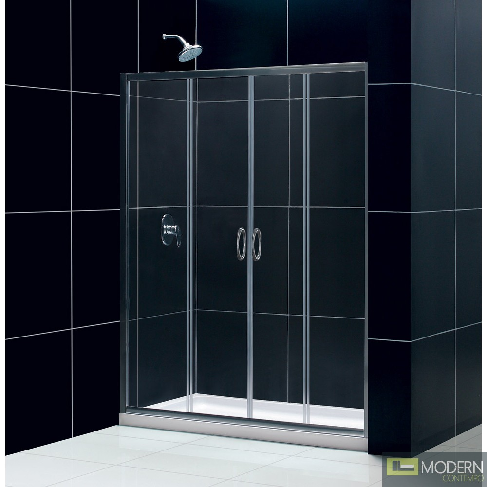 """Visions Frameless Sliding Shower Door, 30"""" by 60"""" Single Threshold Shower Base Center Drain and QWALL-5 Shower Backwall Kit"""