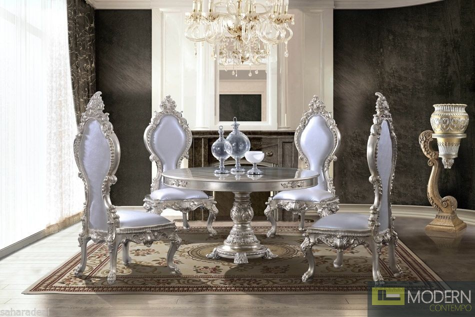 5PC Ariel Luxury Champagne Table & Chairs Baroque Antique Dining Set