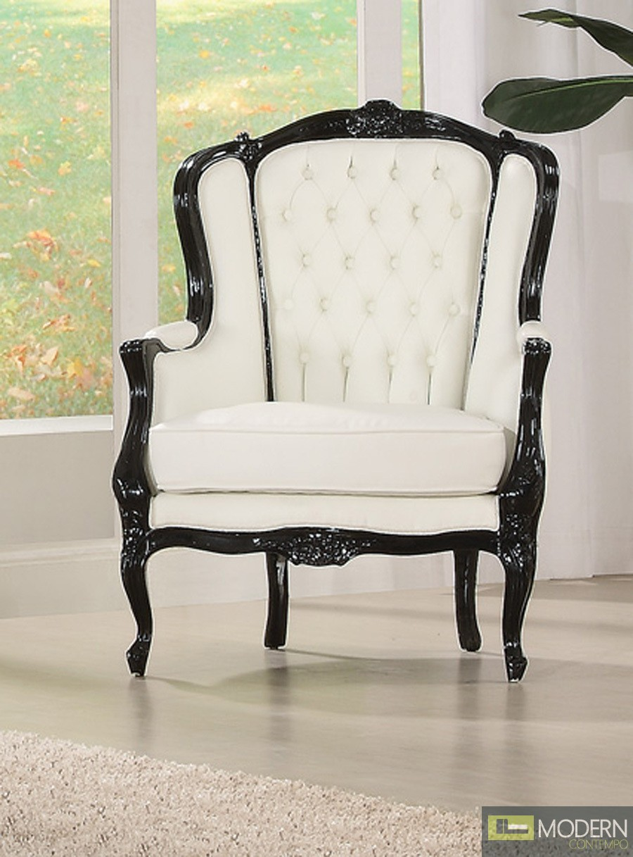Black/White Venice Traditional Accent Wing Arm Chair