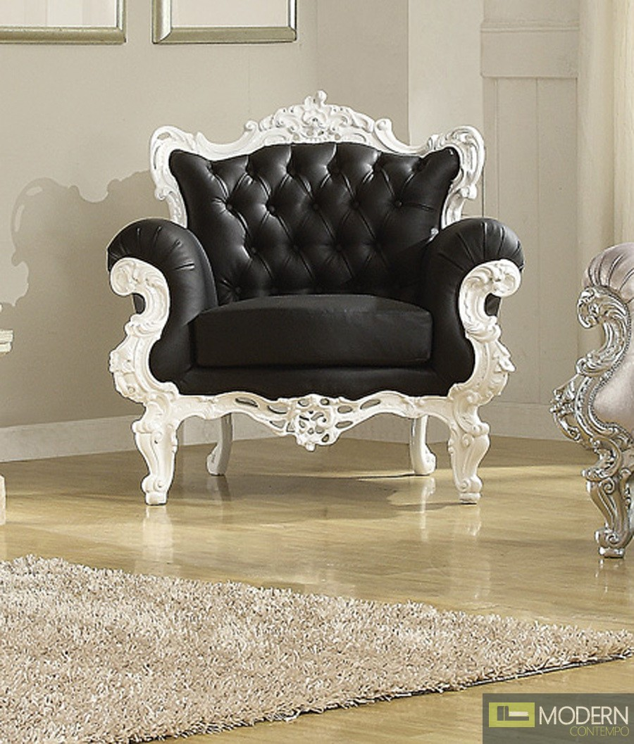 Contemporary Bedroom Set London Black By Acme Furniture: Black/White ODESSA French Victorian Style Accent Arm Chair