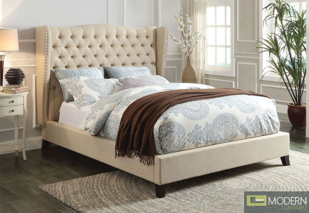 Contemporary  Upholstered Bed in Red, Blue, Beige or Chocolate Fabric