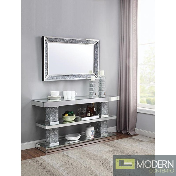 Galassia Mirrored and Faux Diamonds Console Table