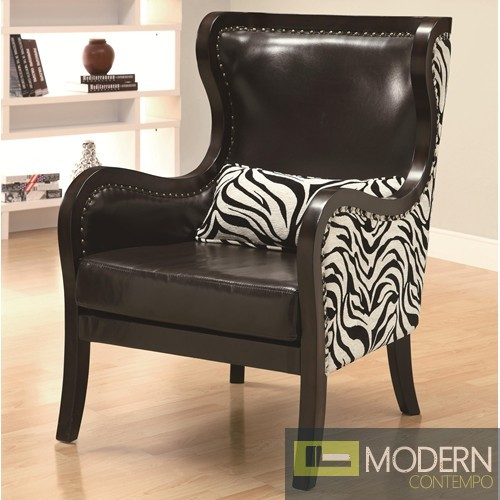 Celine Exposed Wood Zebra Print Accent Chair With Nailhead