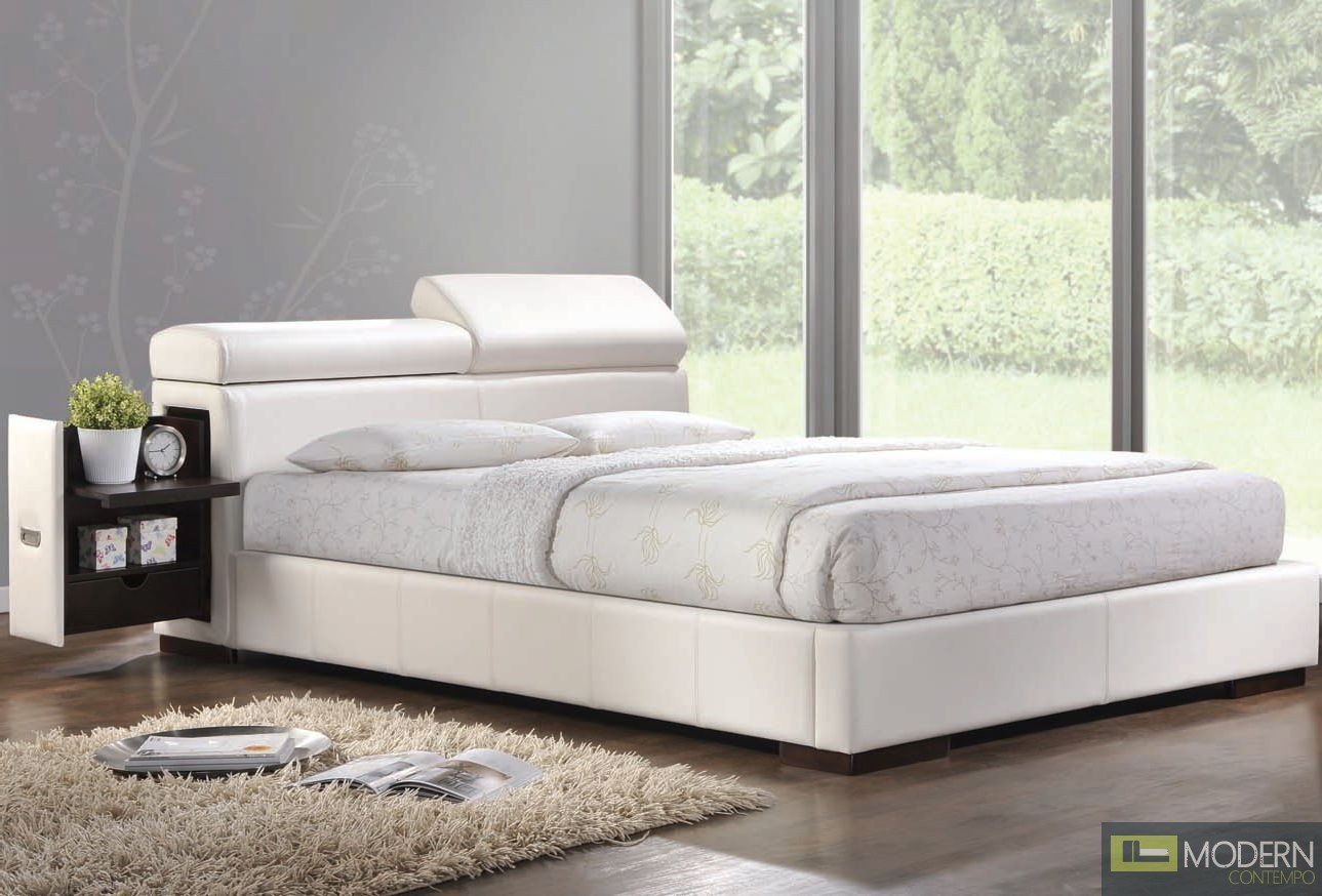 Modern Upholstered Bed in White Leatherette with built in Night stand