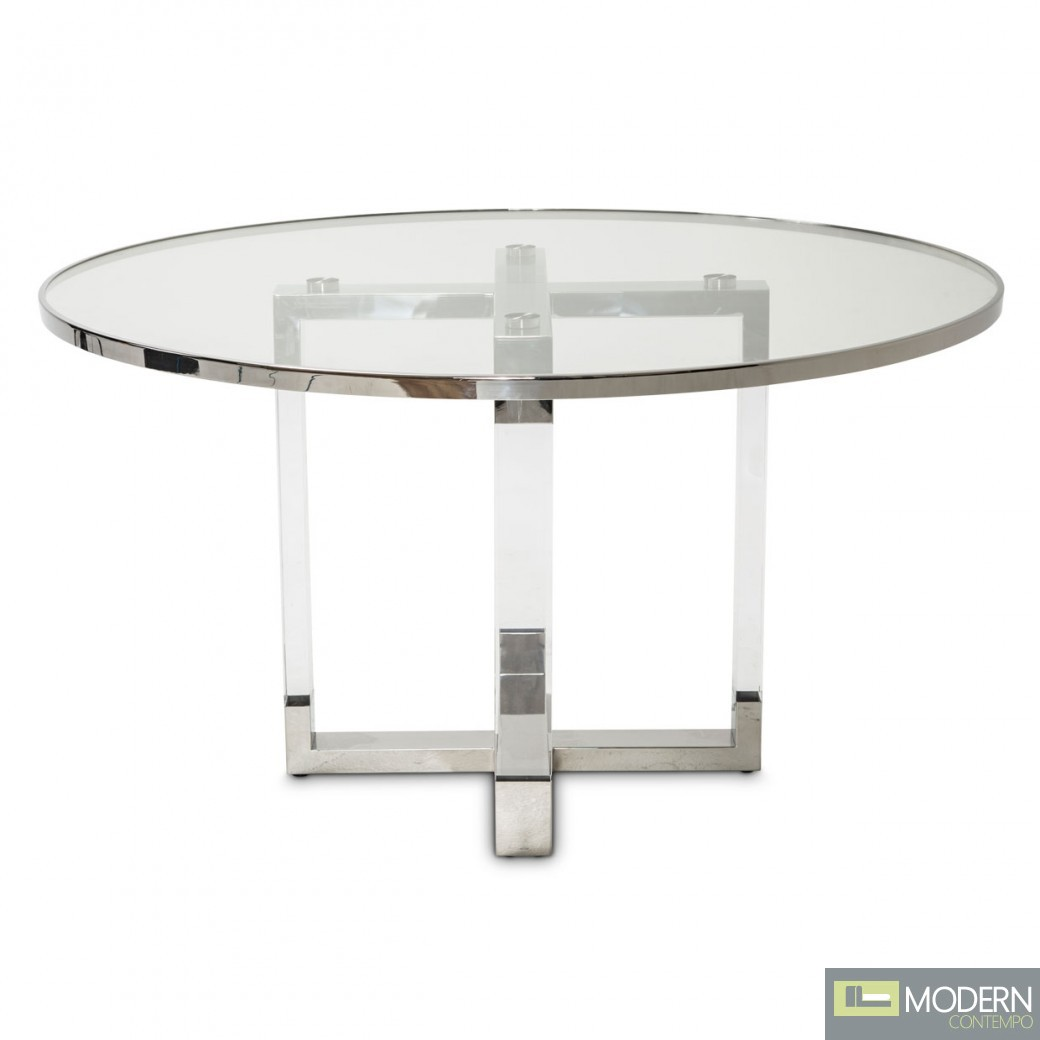 Aico Michael Amini State St Round Dining Table With Glass