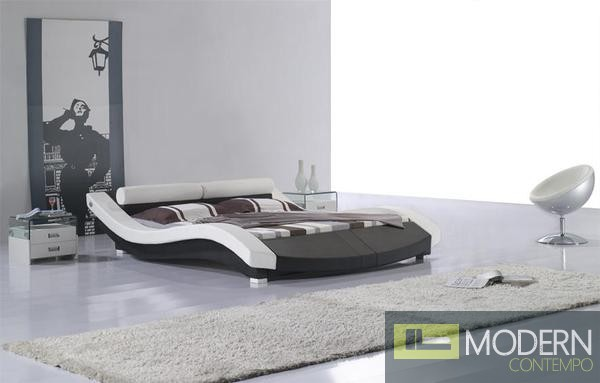 Ariel Contemporary Vinyl Queen Size Bed