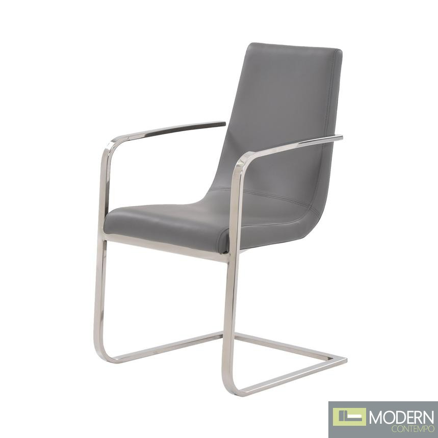 Leslie Grey Leather Arm Chair