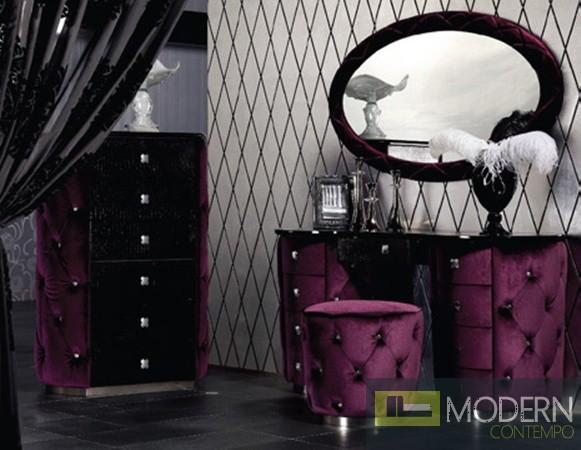 Purple Fabric Tufted Dresser