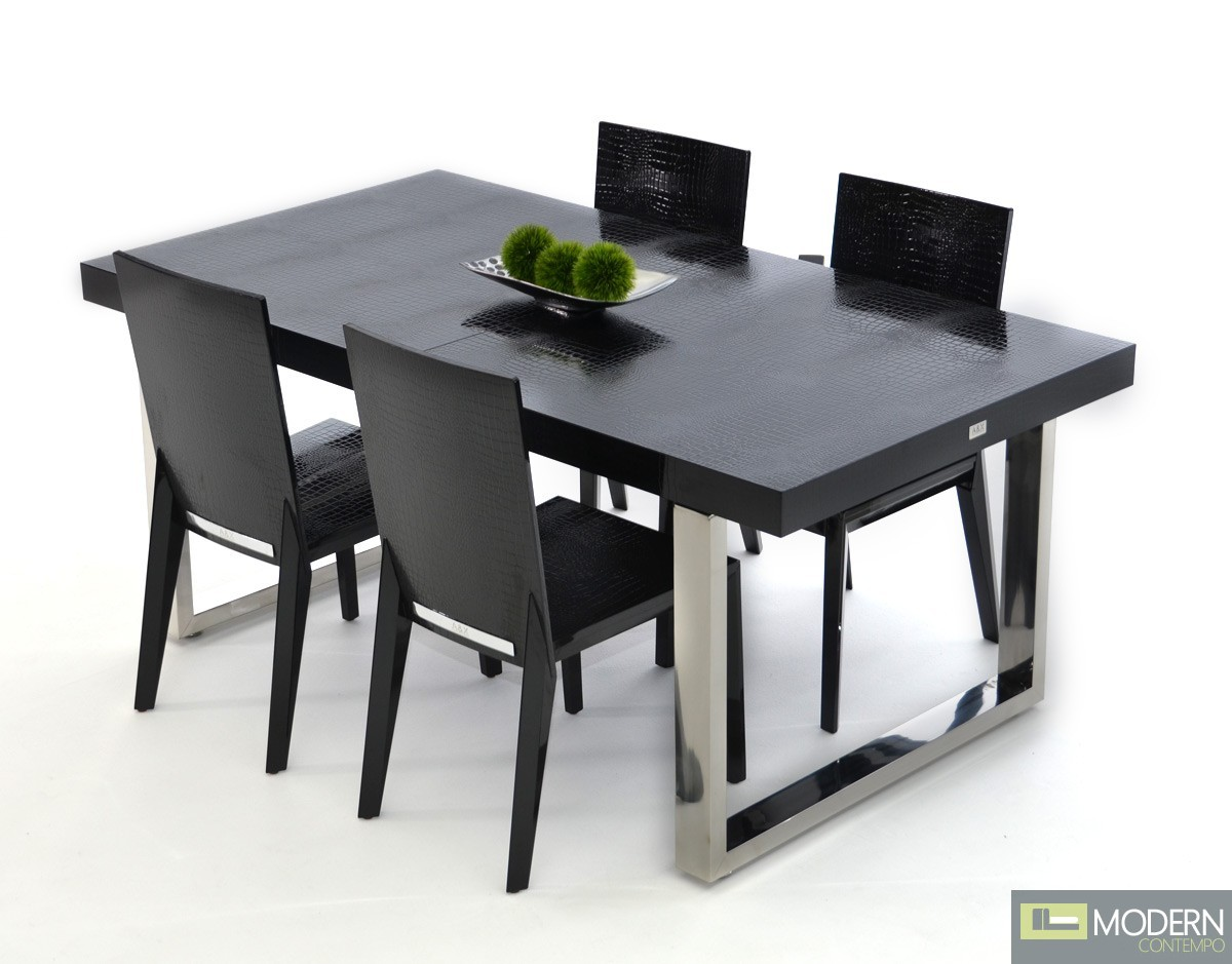 A&X Loudon- Modern Black Crocodile Lacquer Extendable Dining Table