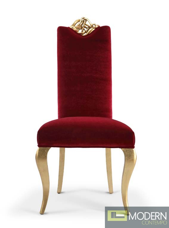 Elena Baroque Rococo style red and gold Side chair