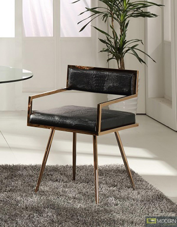 Alejandro Modern Black & Rosegold Dining Chair