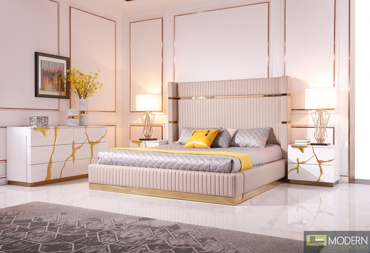 Oslo Modern Beige Bonded Leather & Gold Bed