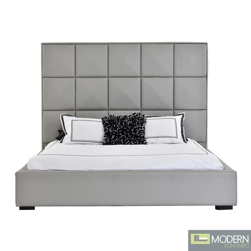 Oxford Gray King Platform Panel Bed