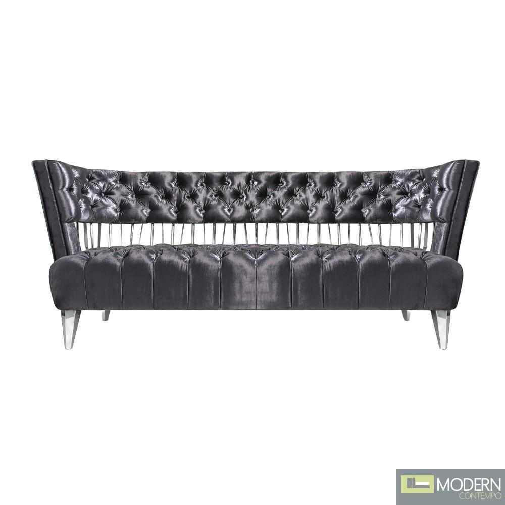 Bentega Grey Velvet Sofa & Chair Stainless Steel Frame