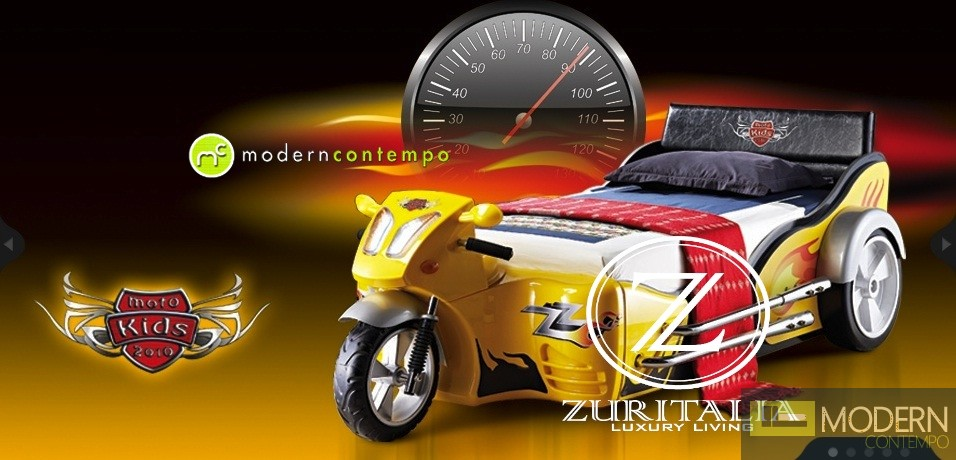 Zuritalia Children Motorcycle Bike Theme Kids Bed