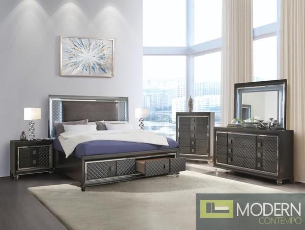 Modern Glam Metallic Gray Fabric with LED Lighting on Headboard and Acrylic legs Set MCNJ1007