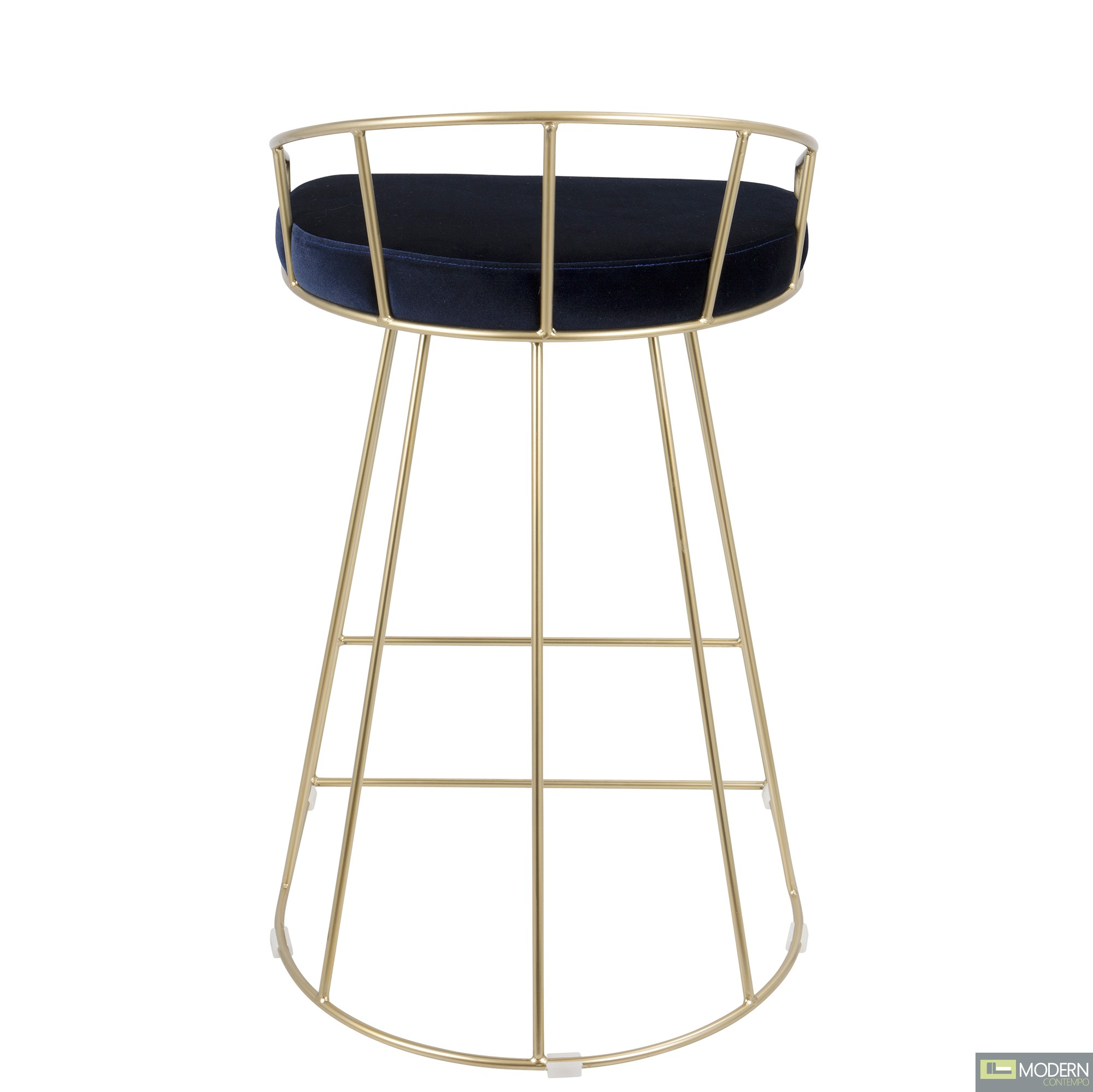 Canary Gold Tone 26 Inch Round Seat Counter Stools Set Of 2