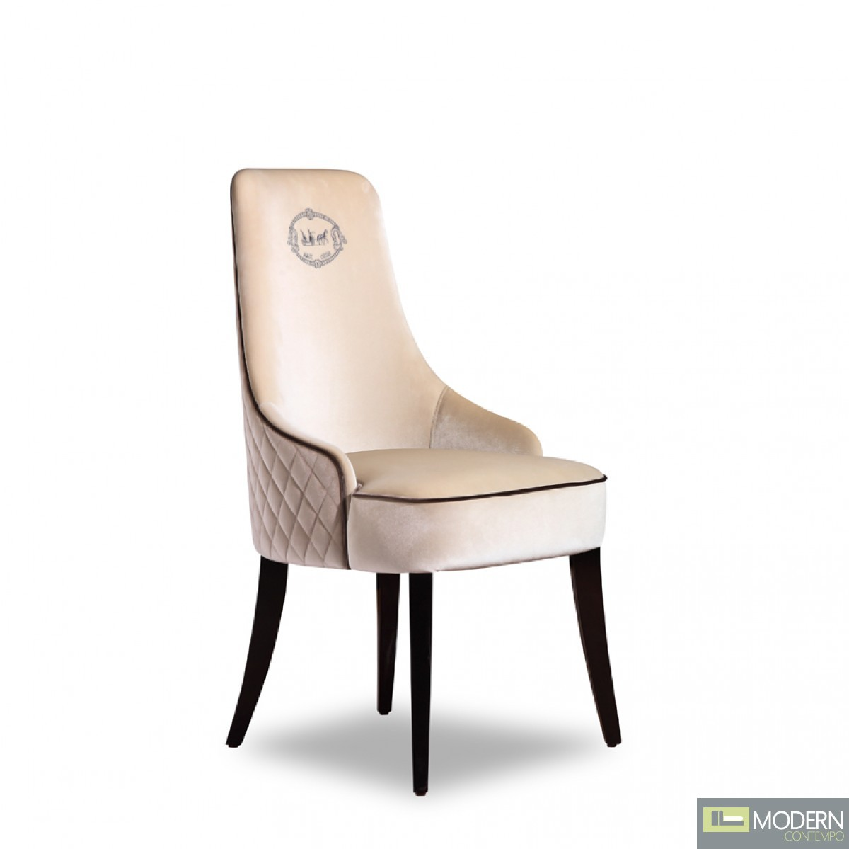 A&X Thalia Modern Off-White Velour Dining Chair